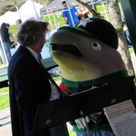 Bert the salmon visits boeing employees concert band at newcastle earth day